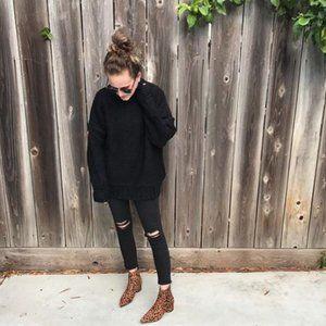 Topshop Jamie High Waist Distressed Black Jeans